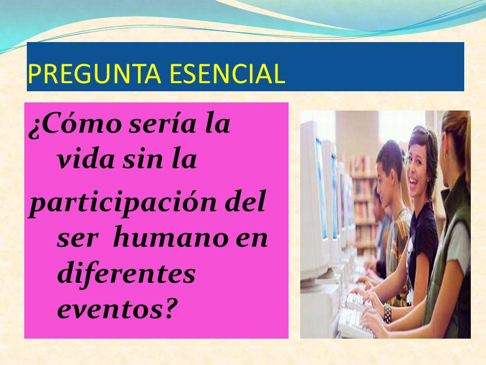 PREGUNTA ESENCIAL ¿Cómo sería la vida sin la participación del ser humano en diferentes eventos