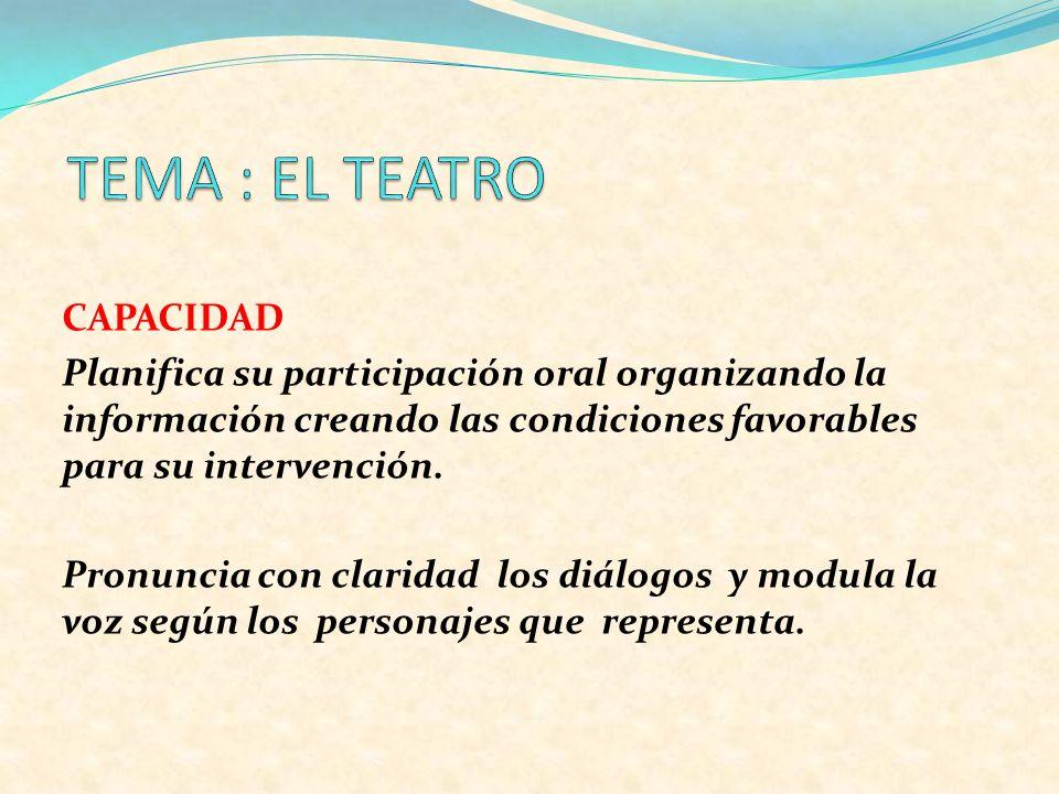 TEMA : EL TEATRO CAPACIDAD
