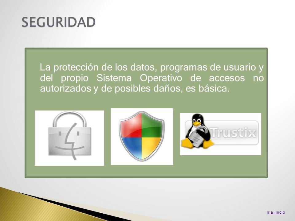 SEGURIDAD La protección de los datos, programas de usuario y del propio Sistema Operativo de accesos no autorizados y de posibles daños, es básica.