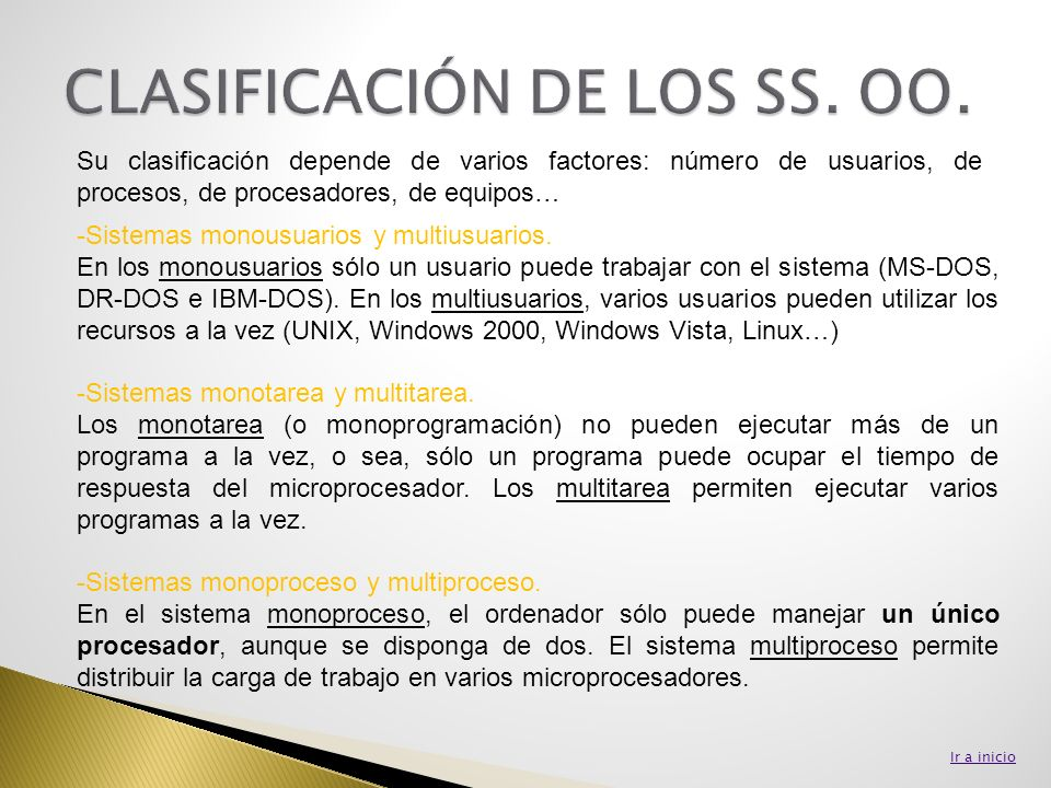 CLASIFICACIÓN DE LOS SS. OO.