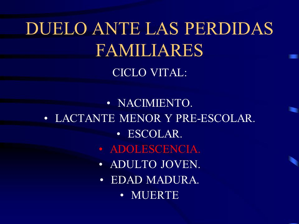 DUELO ANTE LAS PERDIDAS FAMILIARES