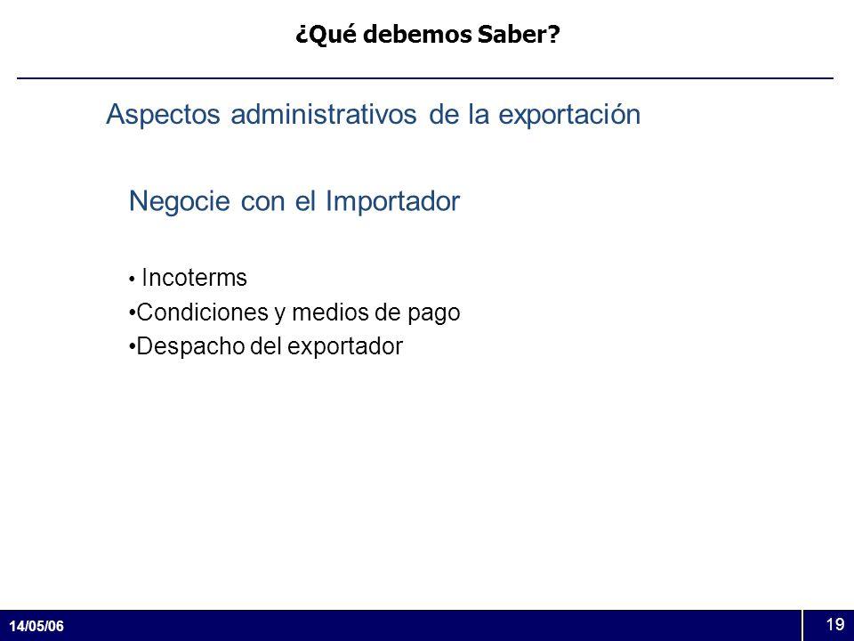 Aspectos administrativos de la exportación