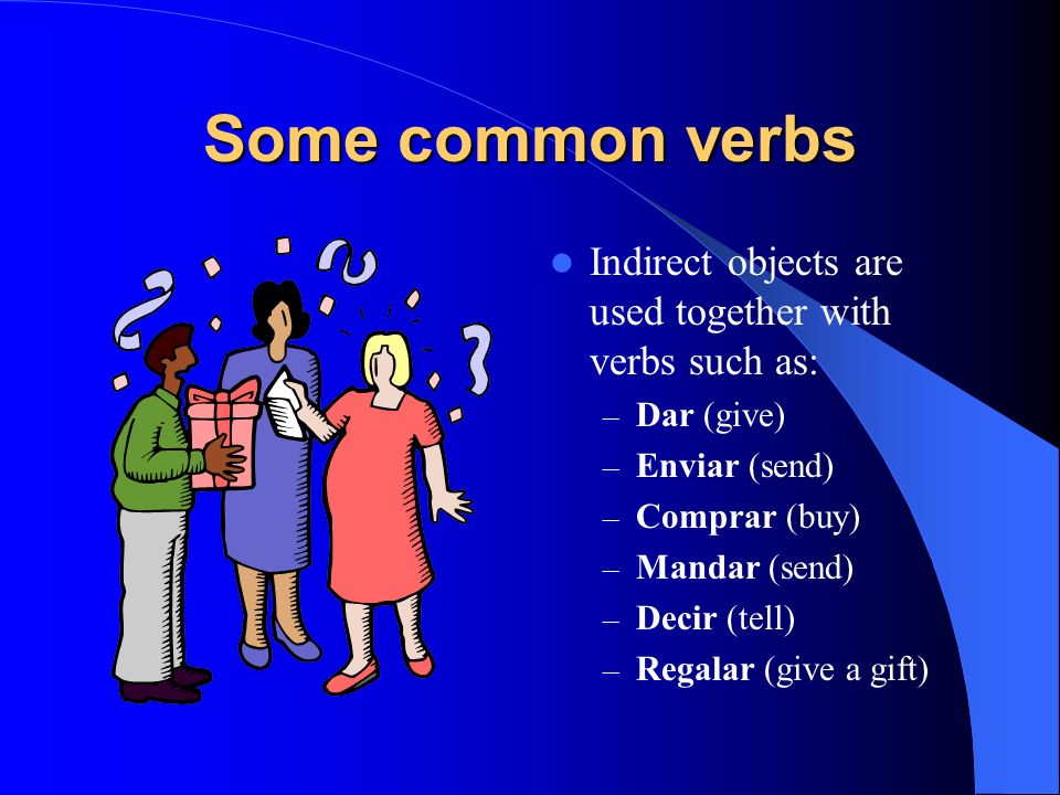 Some common verbsIndirect objects are used together with verbs such as: Dar (give) Enviar (send) Comprar (buy)