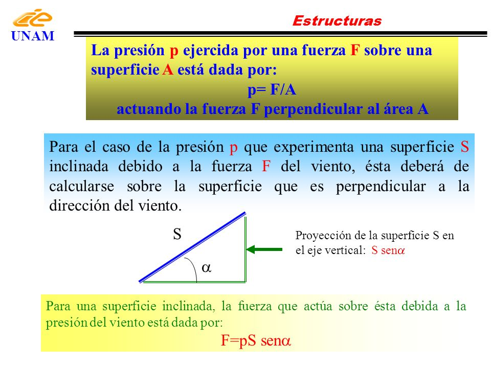 actuando la fuerza F perpendicular al área A