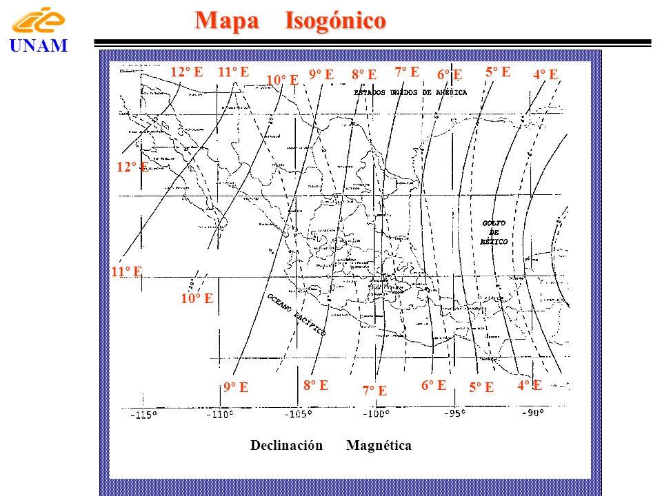 Mapa Isogónico UNAM 12º E 10º E 11º E 8º E 6º E 4º E 7º E 9º E 5º E