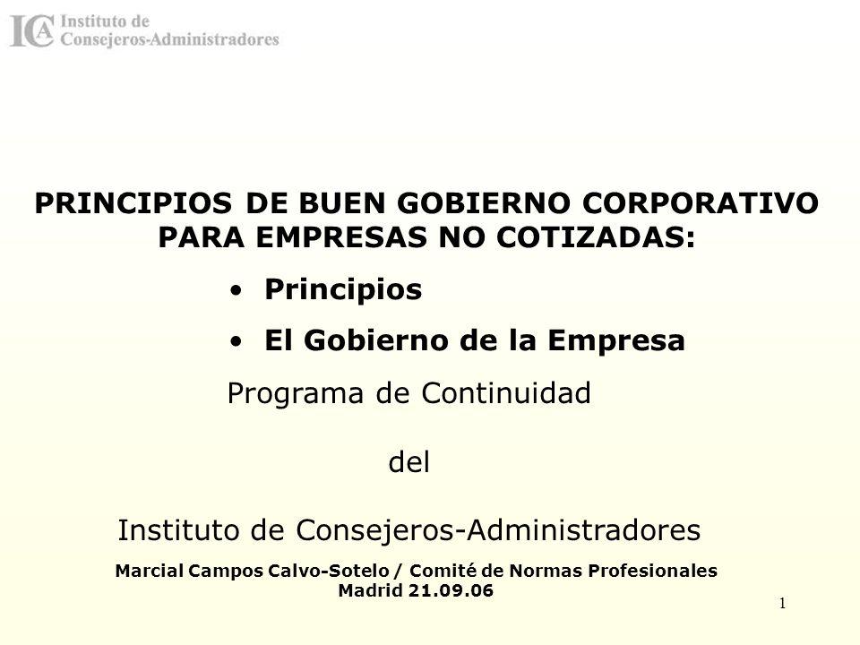 PRINCIPIOS DE BUEN GOBIERNO CORPORATIVO PARA EMPRESAS NO COTIZADAS: