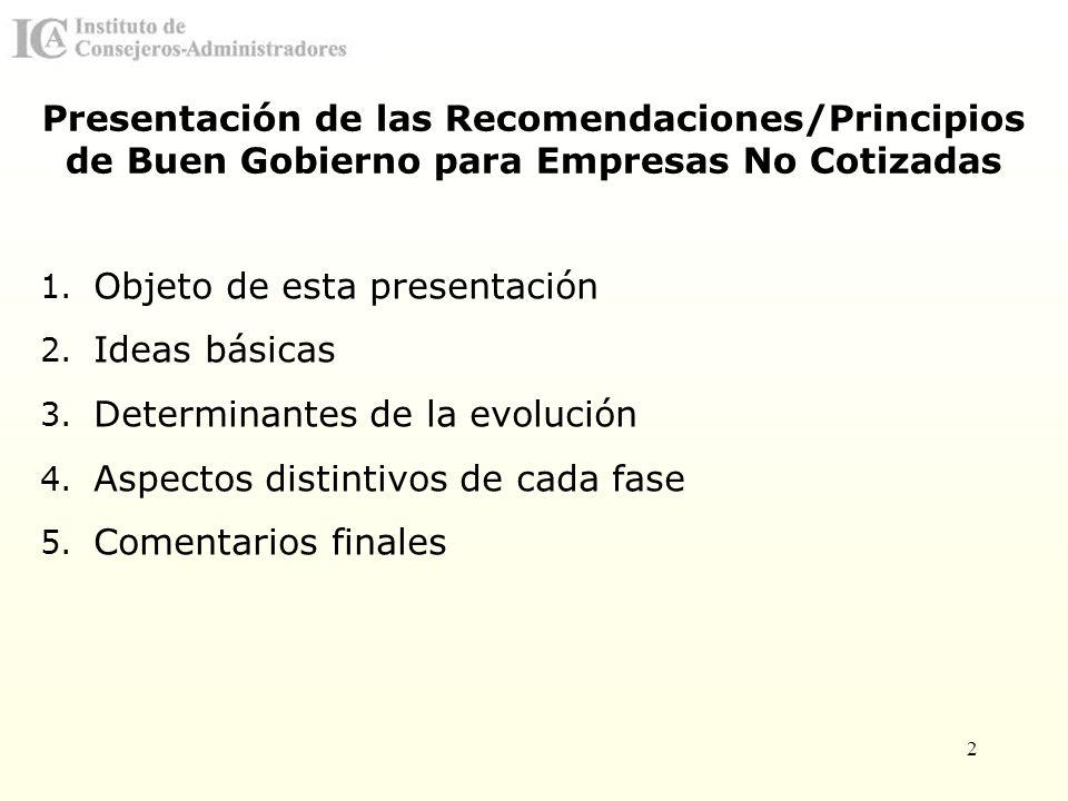 Presentación de las Recomendaciones/Principios de Buen Gobierno para Empresas No Cotizadas