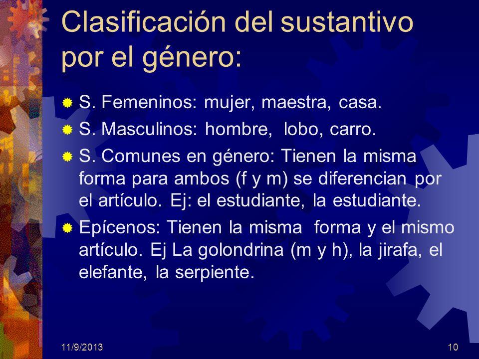 Clasificación del sustantivo por el género: