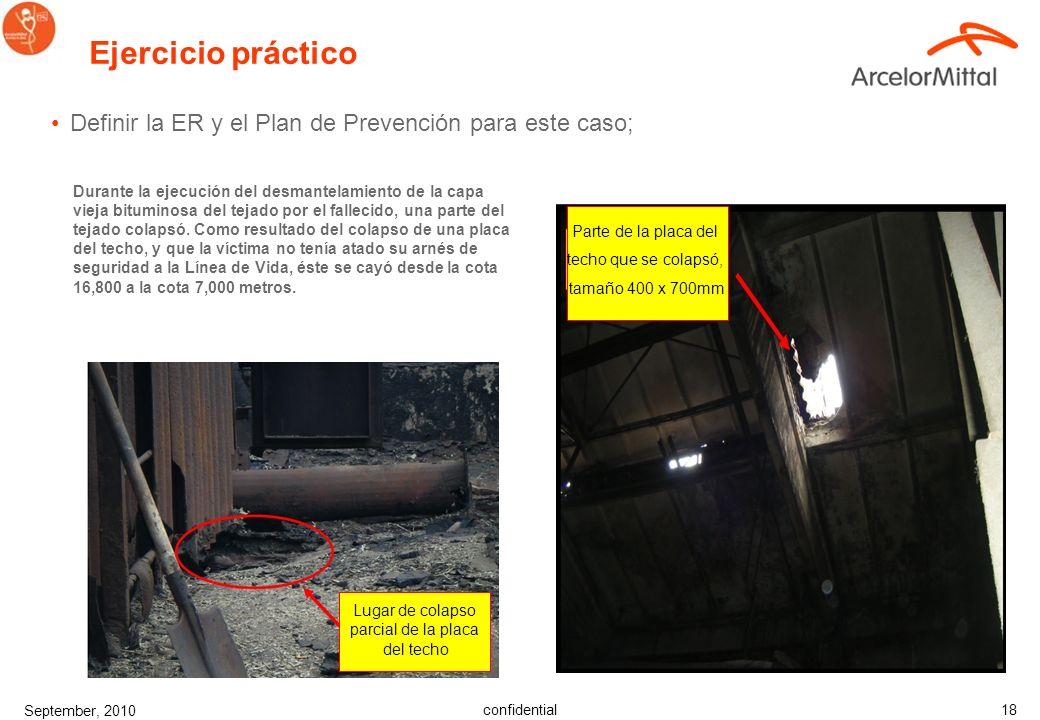 Ejercicio práctico Definir la ER y el Plan de Prevención para este caso;