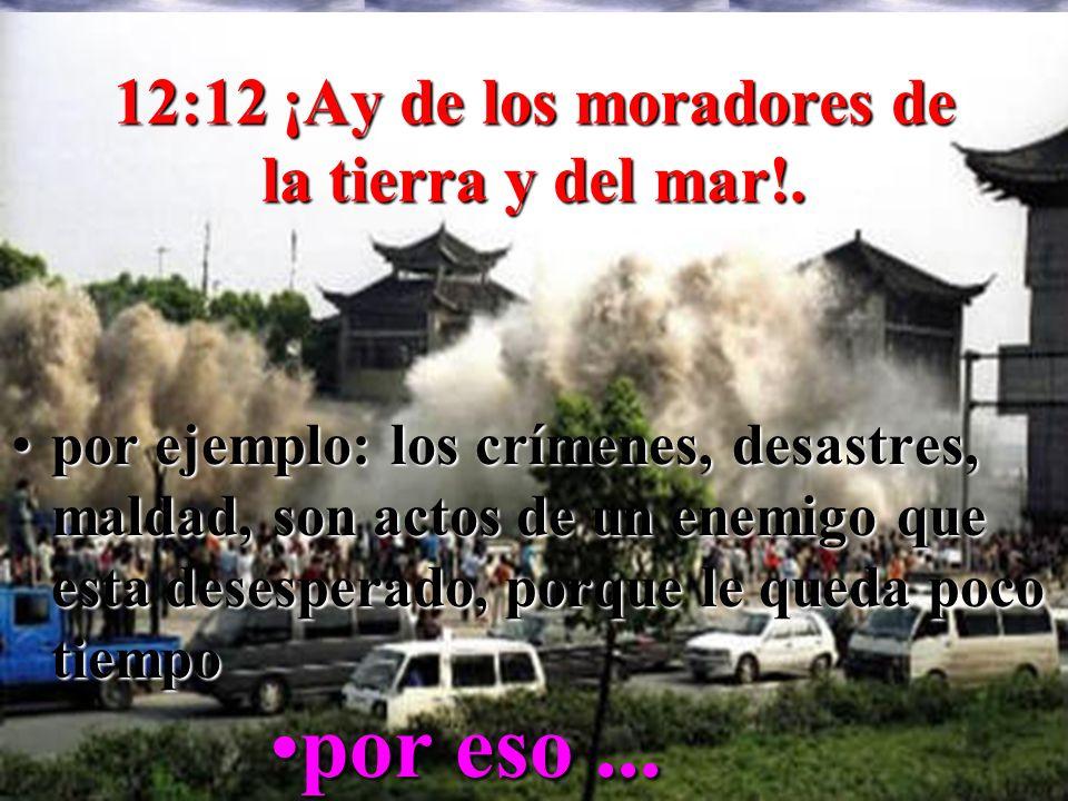 12:12 ¡Ay de los moradores de la tierra y del mar!.