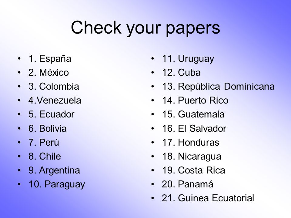 Check your papers 1. España 2. México 3. Colombia 4.Venezuela
