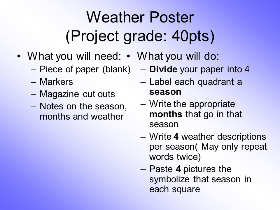 Weather Poster (Project grade: 40pts)