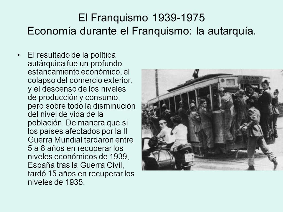 El Franquismo 1939-1975 Economía durante el Franquismo: la autarquía.
