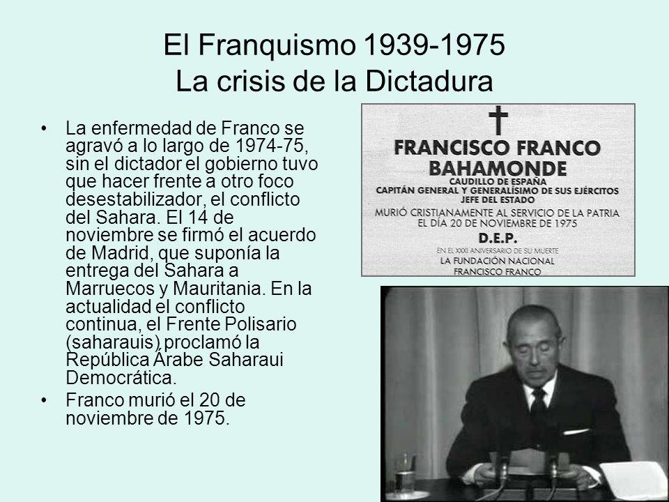 El Franquismo 1939-1975 La crisis de la Dictadura