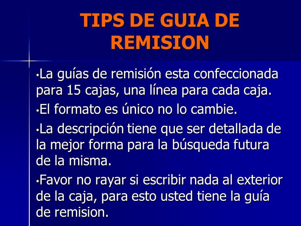 TIPS DE GUIA DE REMISION