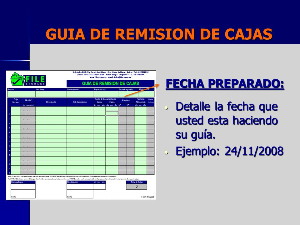 GUIA DE REMISION DE CAJAS