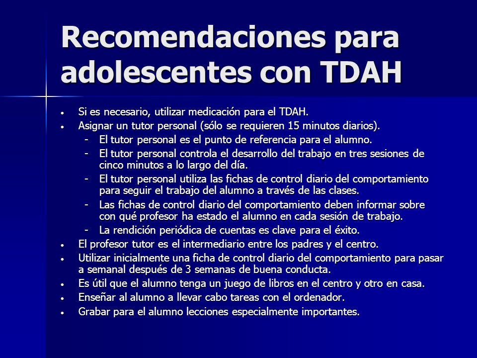 Recomendaciones para adolescentes con TDAH