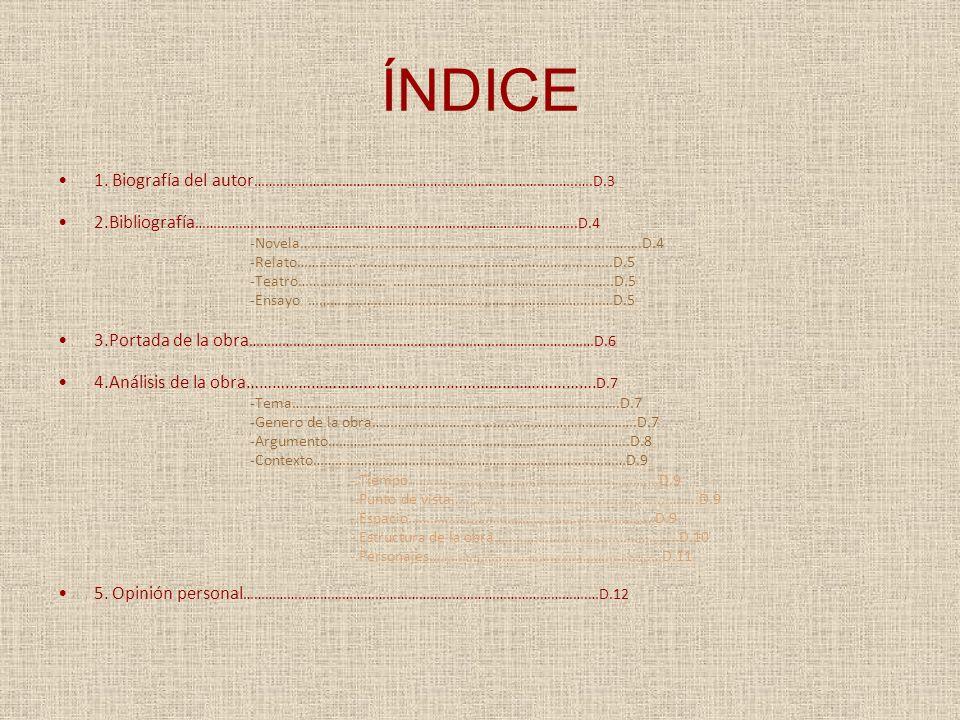 ÍNDICE 1. Biografía del autor……………………………………………………………..……………..….D.3