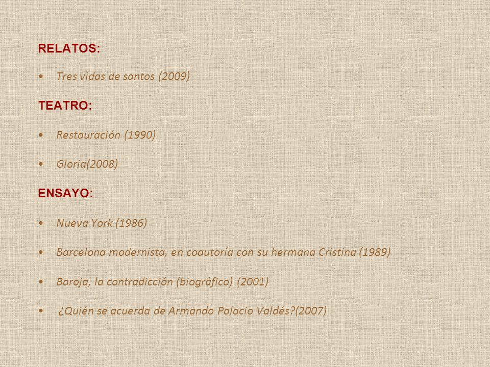 RELATOS: Tres vidas de santos (2009) TEATRO: Restauración (1990) Gloria(2008) ENSAYO: Nueva York (1986)