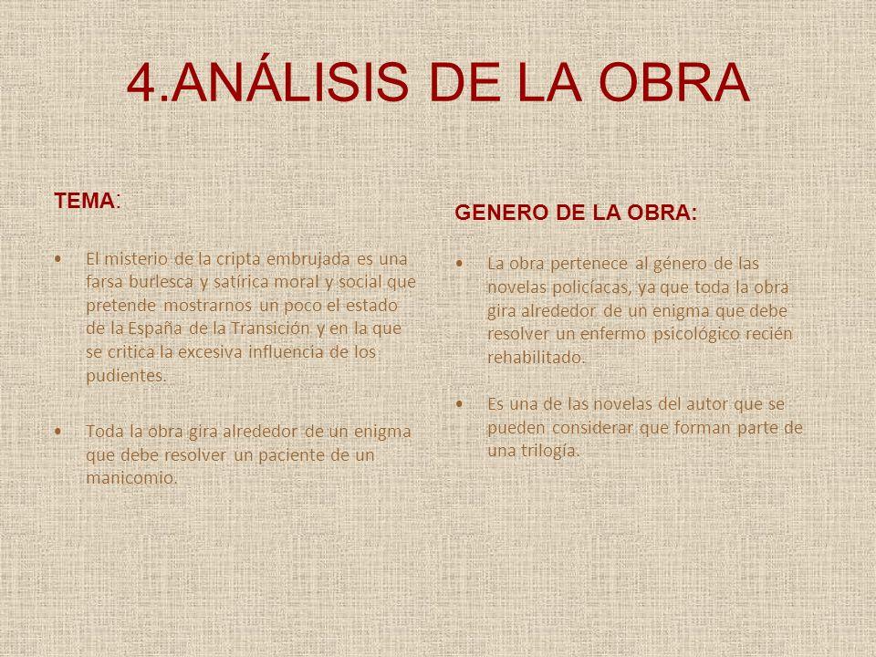4.ANÁLISIS DE LA OBRA TEMA: GENERO DE LA OBRA: