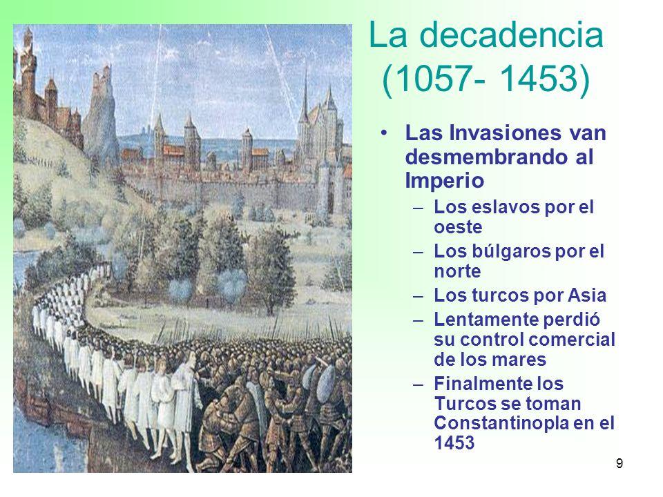 La decadencia (1057- 1453) Las Invasiones van desmembrando al Imperio