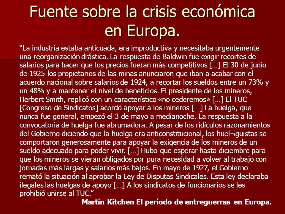Fuente sobre la crisis económica en Europa.