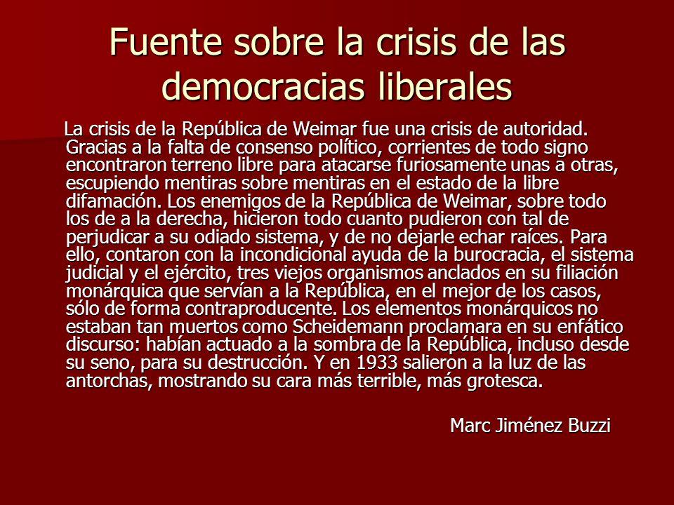Fuente sobre la crisis de las democracias liberales