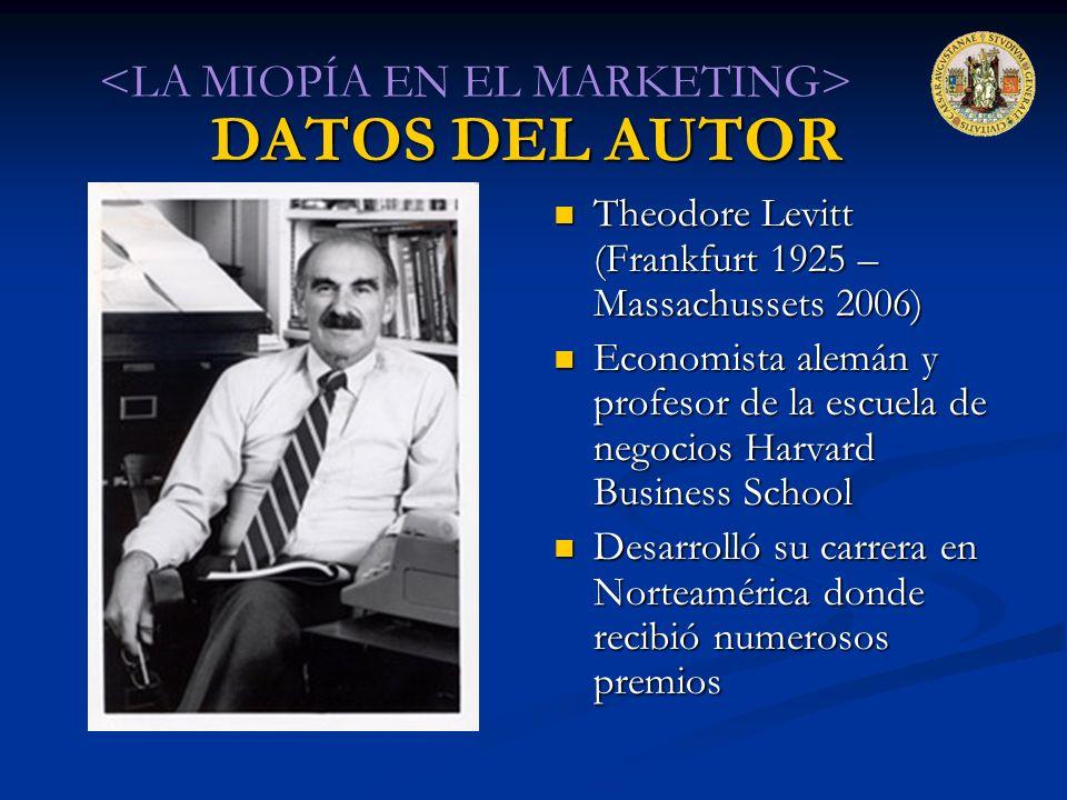 DATOS DEL AUTOR <LA MIOPÍA EN EL MARKETING>