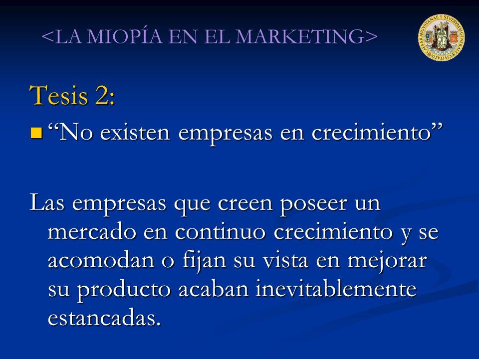 Tesis 2: No existen empresas en crecimiento