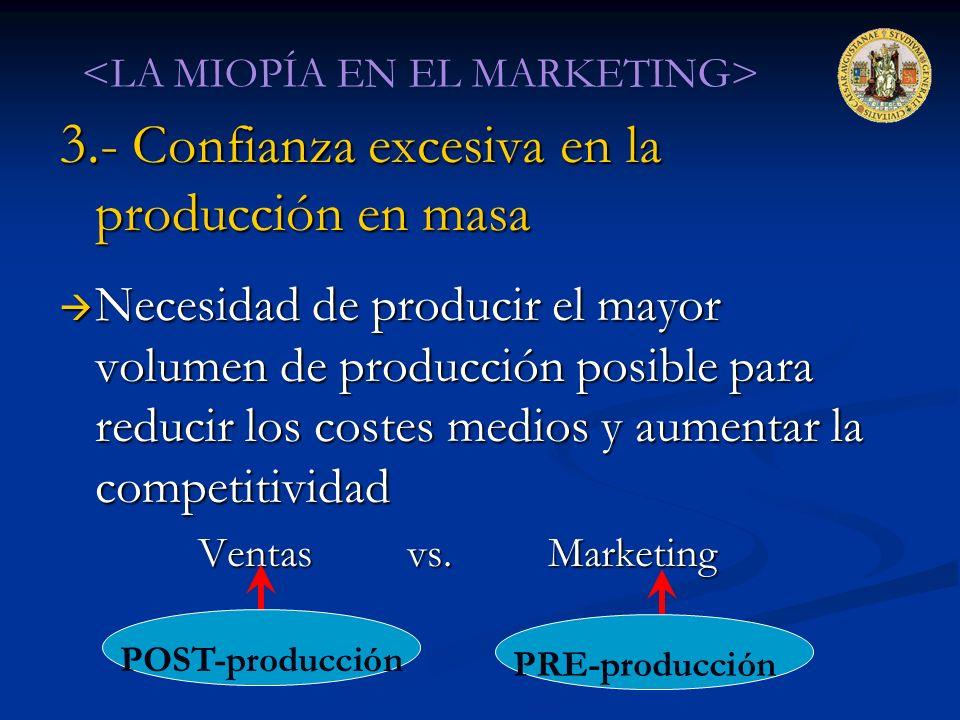 3.- Confianza excesiva en la producción en masa