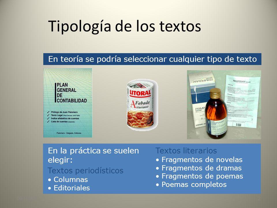 Tipología de los textos
