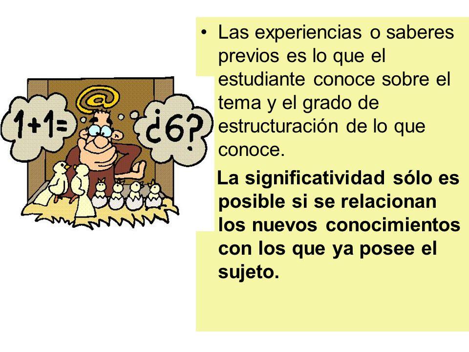 Las experiencias o saberes previos es lo que el estudiante conoce sobre el tema y el grado de estructuración de lo que conoce.