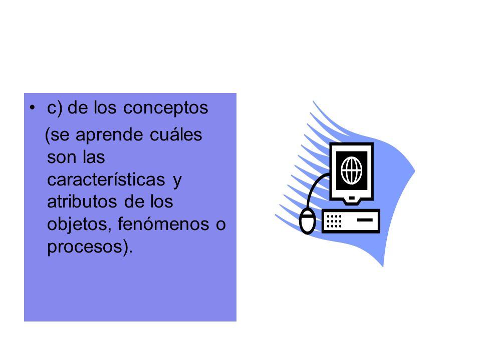 c) de los conceptos (se aprende cuáles son las características y atributos de los objetos, fenómenos o procesos).