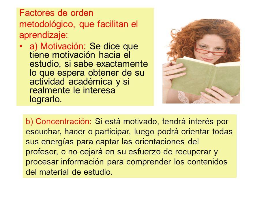 metodológico, que facilitan el aprendizaje: