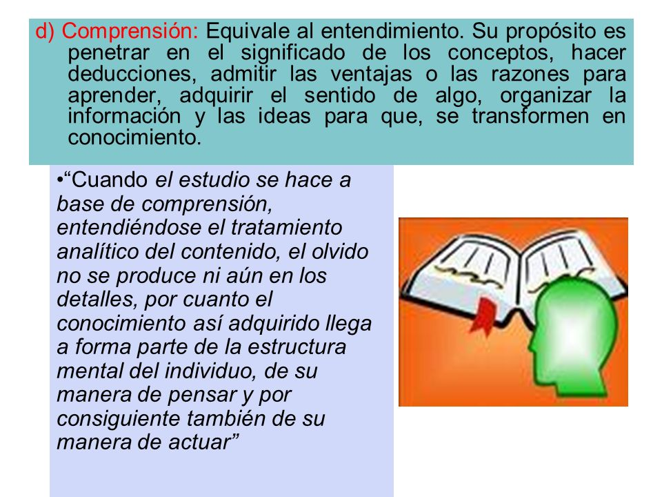 d) Comprensión: Equivale al entendimiento