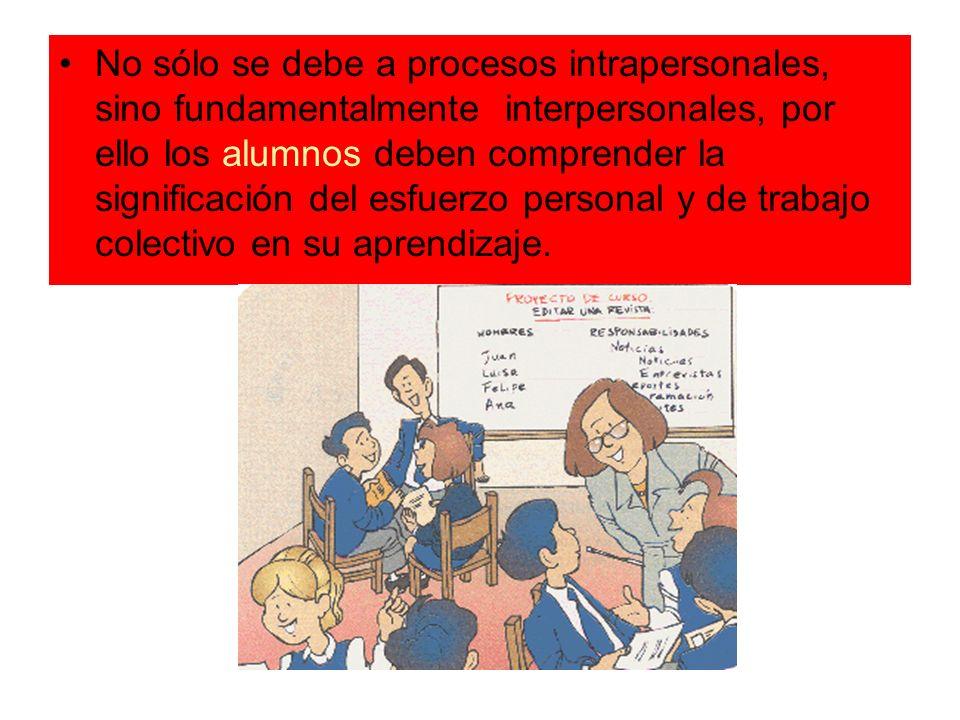 No sólo se debe a procesos intrapersonales, sino fundamentalmente interpersonales, por ello los alumnos deben comprender la significación del esfuerzo personal y de trabajo colectivo en su aprendizaje.