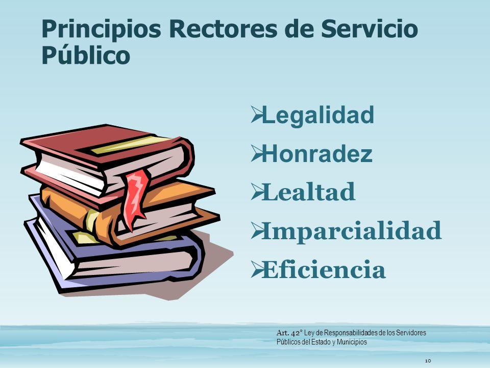 Principios Rectores de Servicio Público
