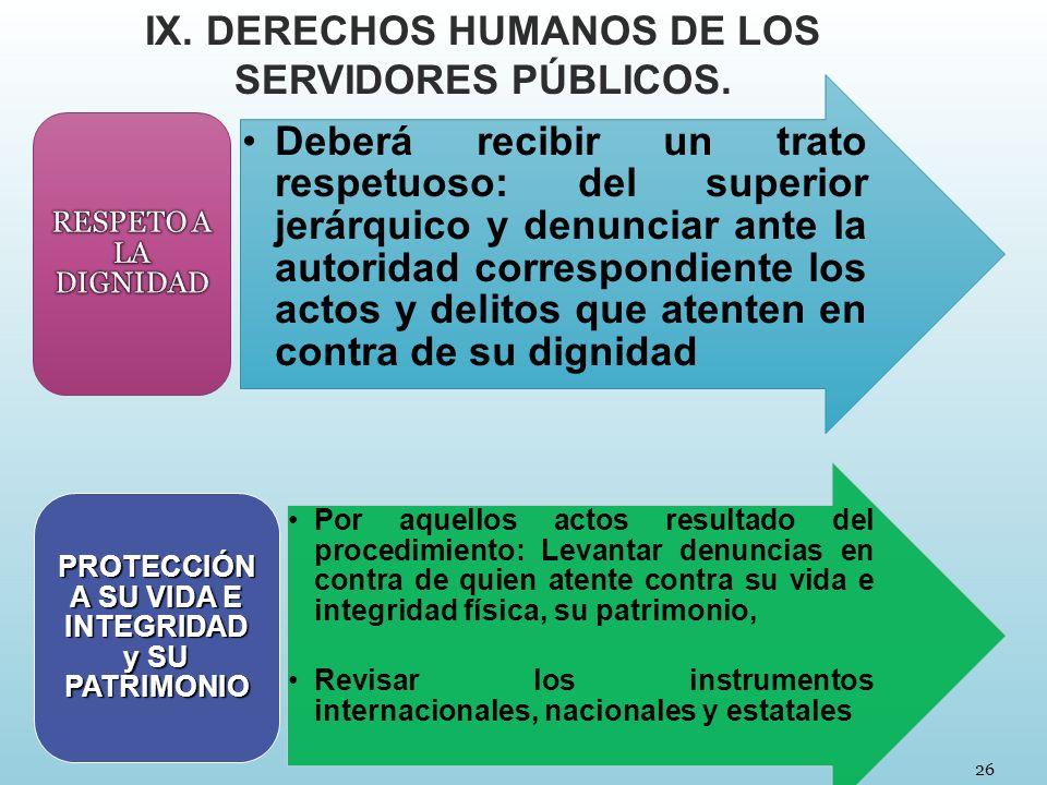 IX. DERECHOS HUMANOS DE LOS SERVIDORES PÚBLICOS.