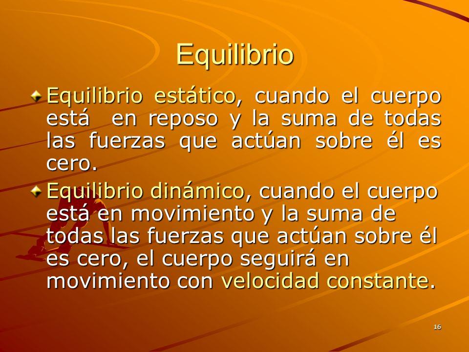 Equilibrio Equilibrio estático, cuando el cuerpo está en reposo y la suma de todas las fuerzas que actúan sobre él es cero.