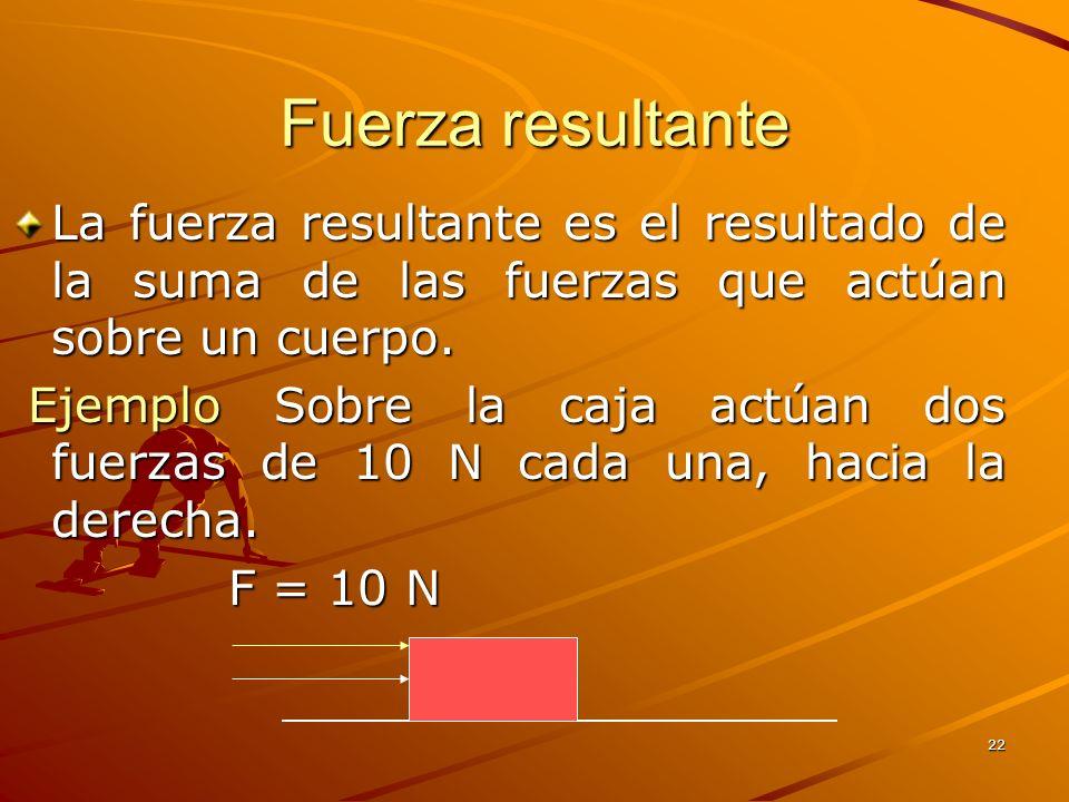 Fuerza resultante La fuerza resultante es el resultado de la suma de las fuerzas que actúan sobre un cuerpo.