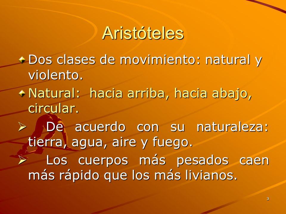 Aristóteles Dos clases de movimiento: natural y violento.