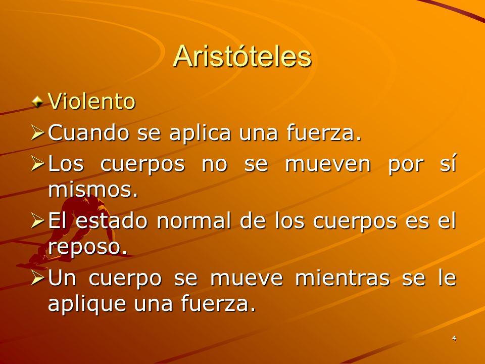 Aristóteles Violento Cuando se aplica una fuerza.