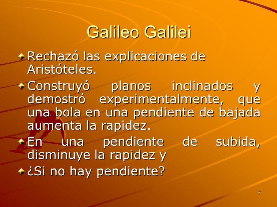Galileo Galilei Rechazó las explicaciones de Aristóteles.