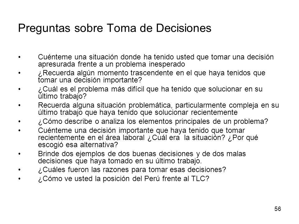 Preguntas sobre Toma de Decisiones