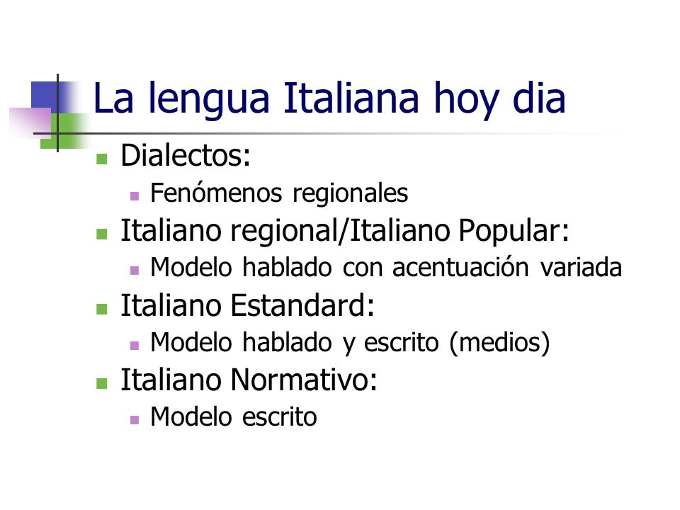 La lengua Italiana hoy dia