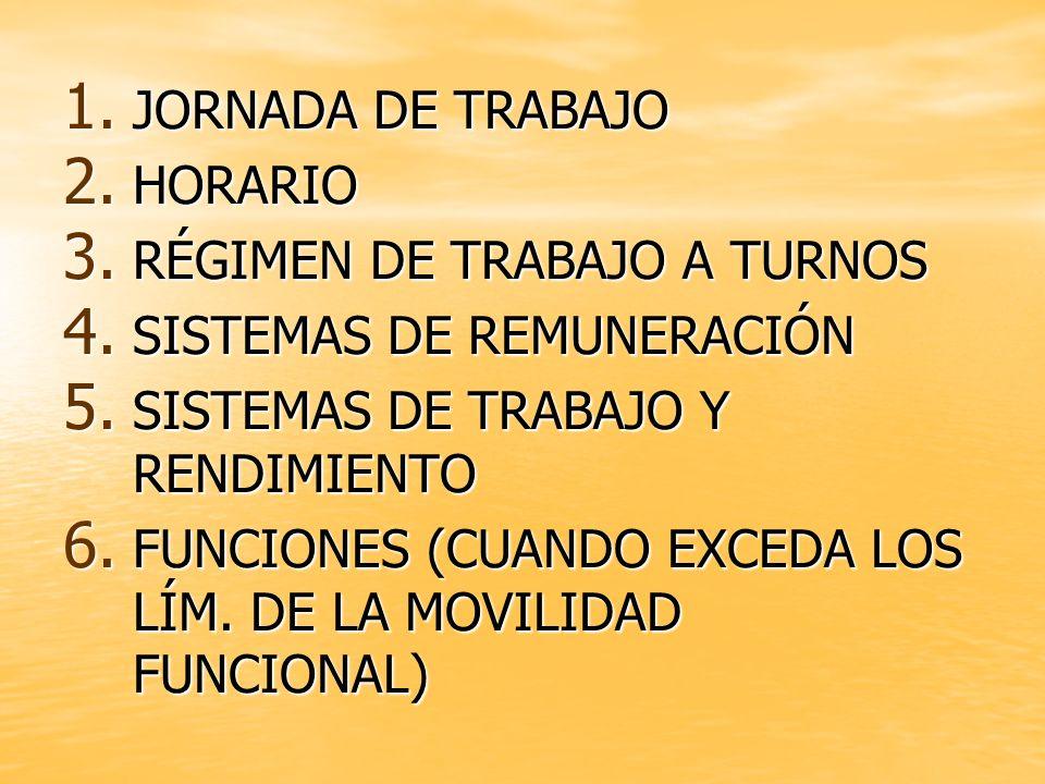 JORNADA DE TRABAJO HORARIO. RÉGIMEN DE TRABAJO A TURNOS. SISTEMAS DE REMUNERACIÓN. SISTEMAS DE TRABAJO Y RENDIMIENTO.