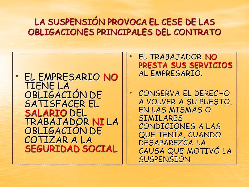 LA SUSPENSIÓN PROVOCA EL CESE DE LAS OBLIGACIONES PRINCIPALES DEL CONTRATO