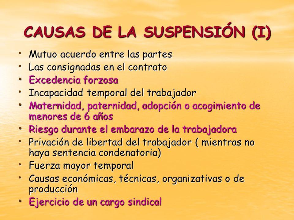CAUSAS DE LA SUSPENSIÓN (I)