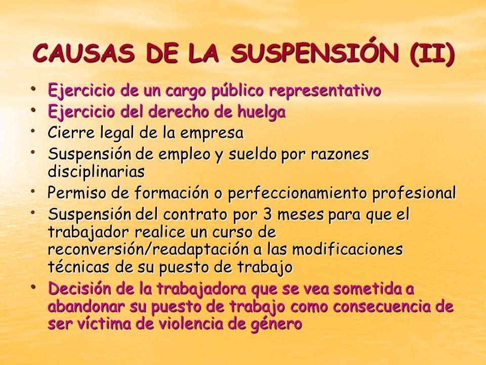 CAUSAS DE LA SUSPENSIÓN (II)