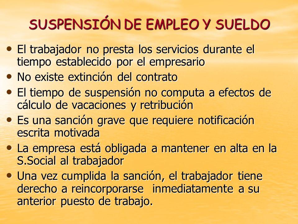 SUSPENSIÓN DE EMPLEO Y SUELDO